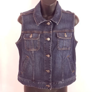 J. Jill Denim Jean Vest Button Sleeveless